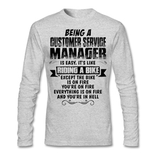 Men's Geek Being A Customer Service Manager T-shirt Custom Long Sleeve Valentine's Under Tshirt Male