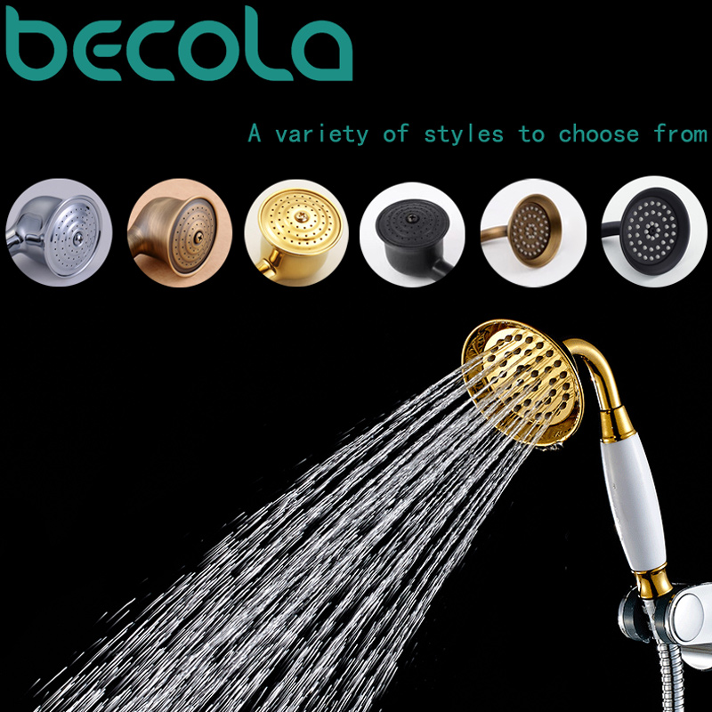 becola free shipping european style with ceramic gilded telephone shower head black antique brass hand shower B-01