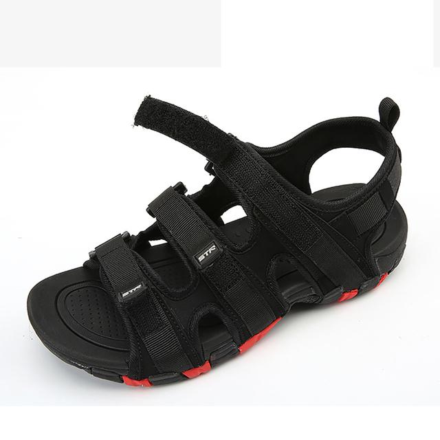 Summer Men Sandals Hook&loop Men's Summer Shoes 2019 Fashion Waterproof Casual Beach Shoes Size:39-44 Black