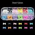 RB12 60 unids/set 12 Color Rhinestone y Decoración Del Arco Belleza Pegatina Gel Del Clavo 3D Accesorio Material de Uñas Producto