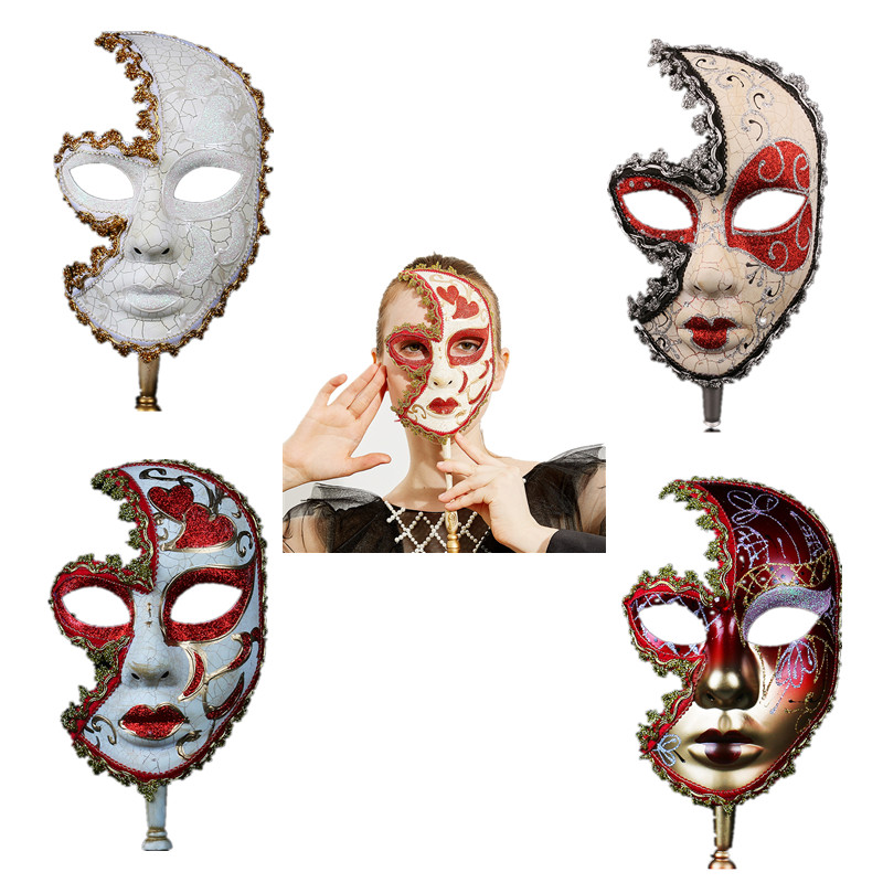H&D Various Venetian Women/Men Masks With Stick For Venetian Masquerade Cosplay Mask Halloween Carnival, Ball Prom, Mardi Gras