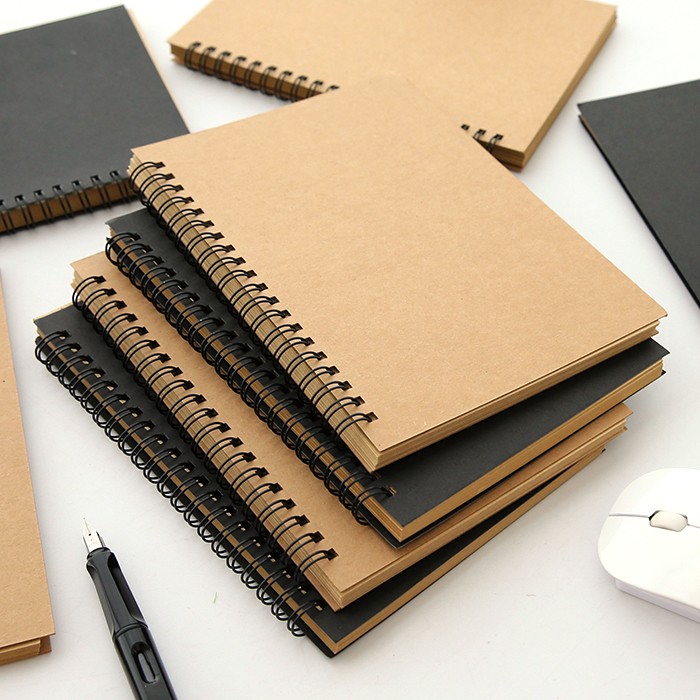 1 PCS Retro Kraft Coil Sketch Sketchbooks Graffiti Blank Notebook Creative Notebook Notepad Book Diary Book School Stationery(China)