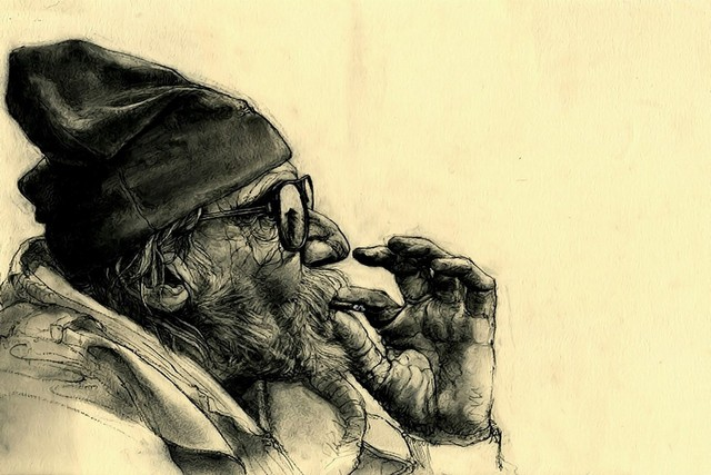 Smoke old man portrait people art painting drawing living room home wall art decor wood frame poster