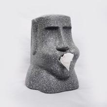 Easter Island Moai Resin Stone Portrait Tissue Box Personality Home Living Room Desktop Decoration Napkin