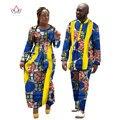 2017 Африканский Печати Платья для Женщин Базен Длинное Dress Женщины Пары Одежда Плюс Размер 6xl Весной Dashiki Мужская Наборы WYQ11