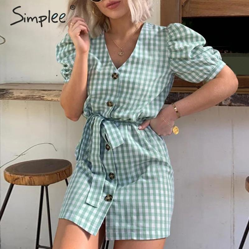 Simplee цельное клетчатое платье с поясом, женское платье с v-образным вырезом и пышными рукавами, женское платье на пуговицах, винтажное летнее...