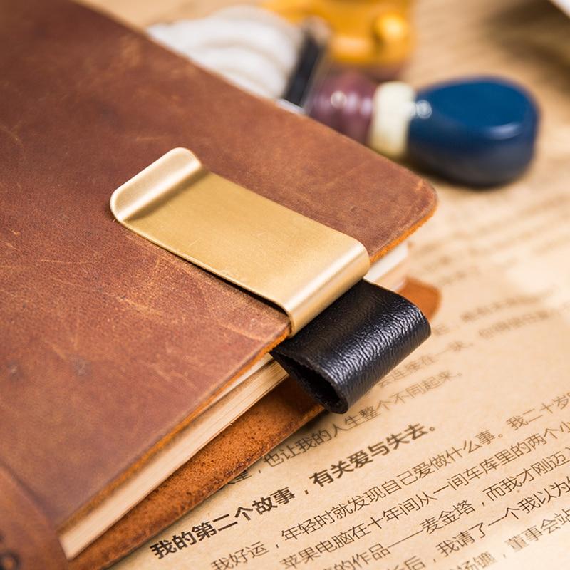 Brass Notebook Clip Pen Clip for Vintage Leather Traveller Notebook Cowhide Diary Spiral Loose Leaf Metal Pen Holder