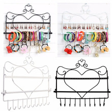 Jewelry Storage Display Stand Rack Iron art Wall Mount Heart Shape Jewelry Organizer Earrings Holder Necklace  3 Colors