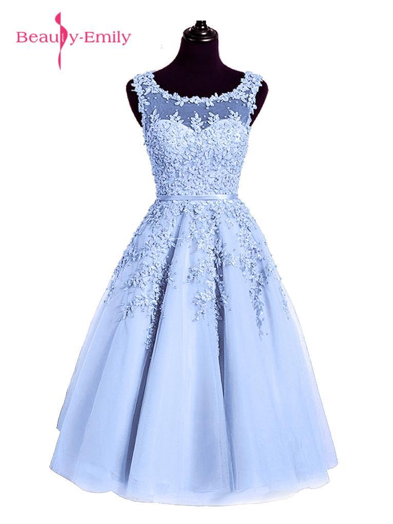 2016 Stof Roze Kralen Kant Applicaties Korte Prom Dresses Robe De - Jurken voor bijzondere gelegenheden - Foto 3