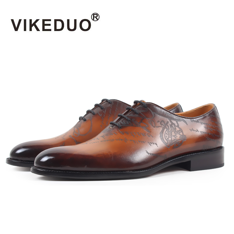 VIKEDUO Brand Newest Luxury Cow Leather Men s Oxford Brown Shoes Hand Painting Upscale Wedding Dress