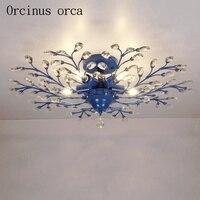 Morza śródziemnego Niebieski kryształ światła sufit salonu sypialni pokoju dziecięcego kreatywny proste nowoczesne oddział lampy kryształowe