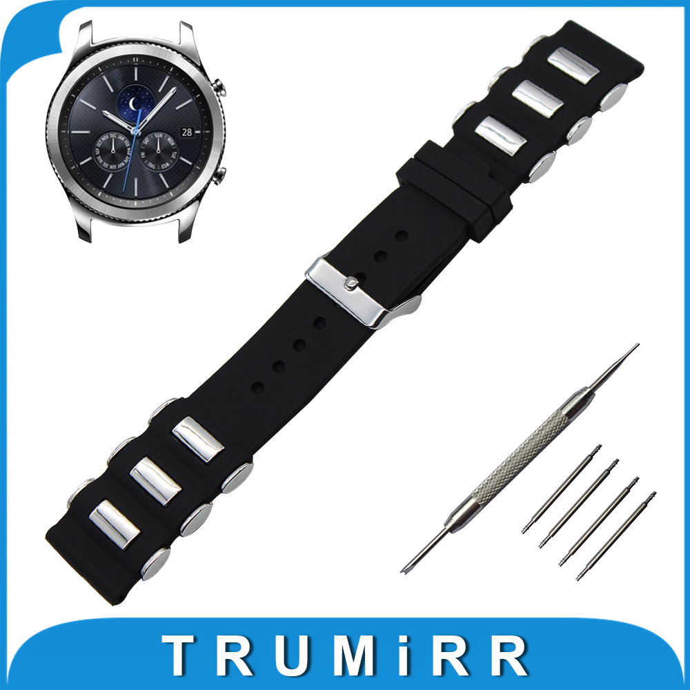 22mm Silicone Rubber Watch Band with Stainless Steel Buckle for Samsung Gear S3 Classic / Frontier Wrist Strap Bracelet Black crested sport silicone strap for samsung gear s3 classic frontier replacement rubber band watch strap for samsung gear s3