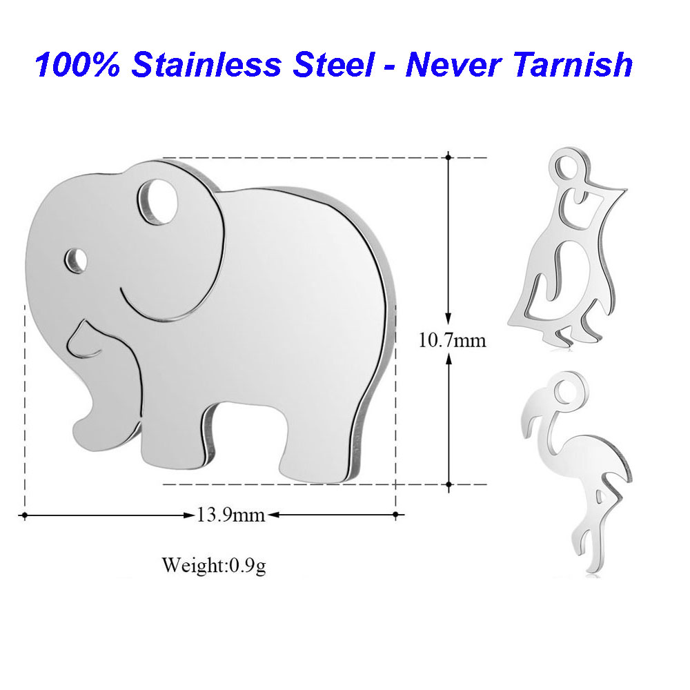 VNISTAR Penguin Jewelry Elephant Charms Flamingo Deer Baby 100%Stainless-Steel Finding-Supplies