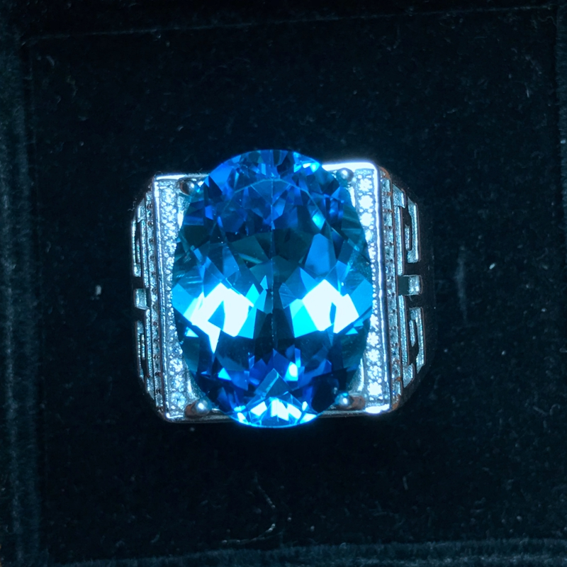 Natural Topaz Men's Ring, 925 Silver, Exquisite Craftsmanship, 10 Carat Gems, Beautiful Colors