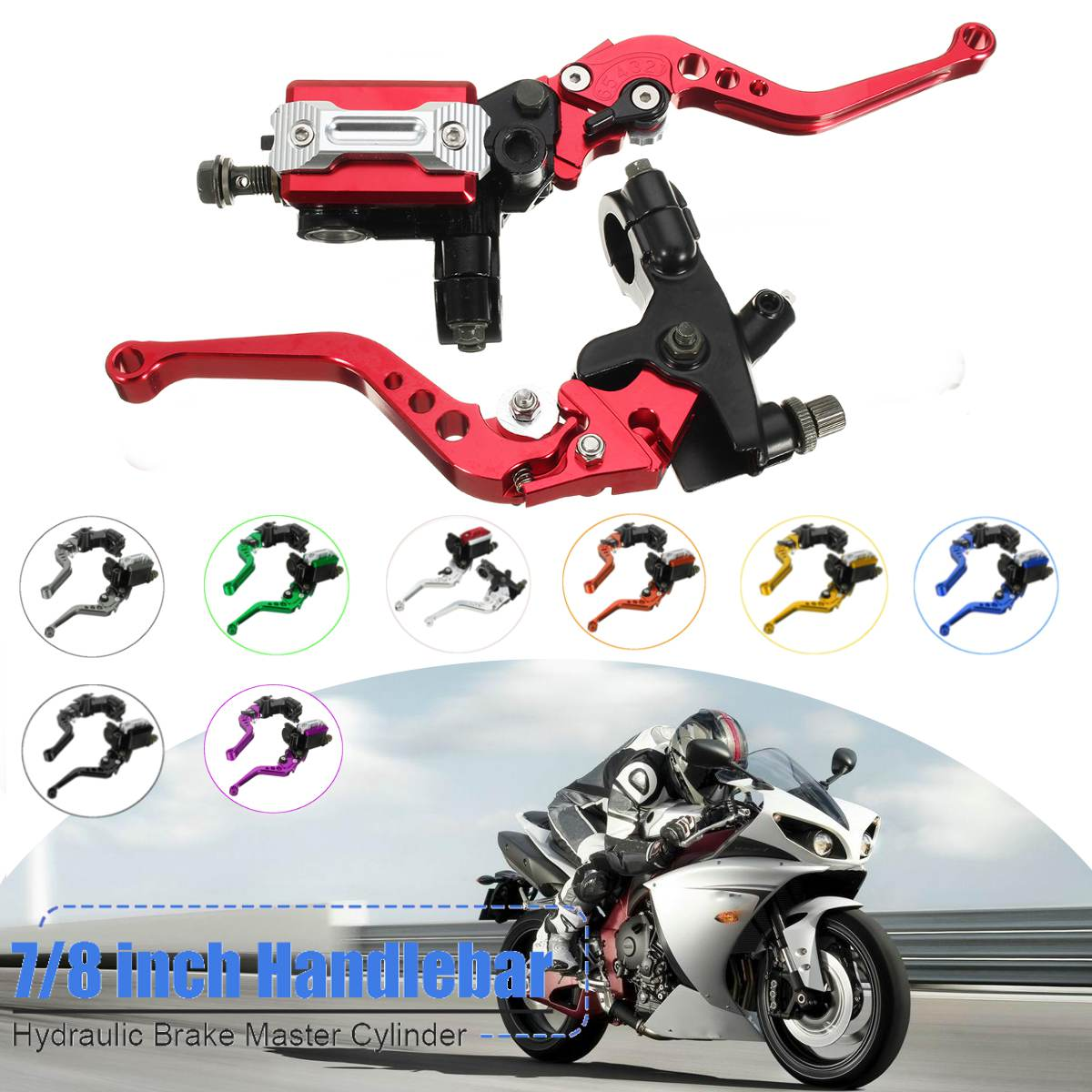 Motorcycle 7/8 CNC Front Brake Hydraulic Clutch Master Cylinder Lever Set Reservoir motorcycle parts racing cnc aluminum adjustable hydraulic brake master cylinder reservoir colorful short levers kit black 7 8 22mm for honda rc51 rvt1000 sp 1 sp 2 2000 2006