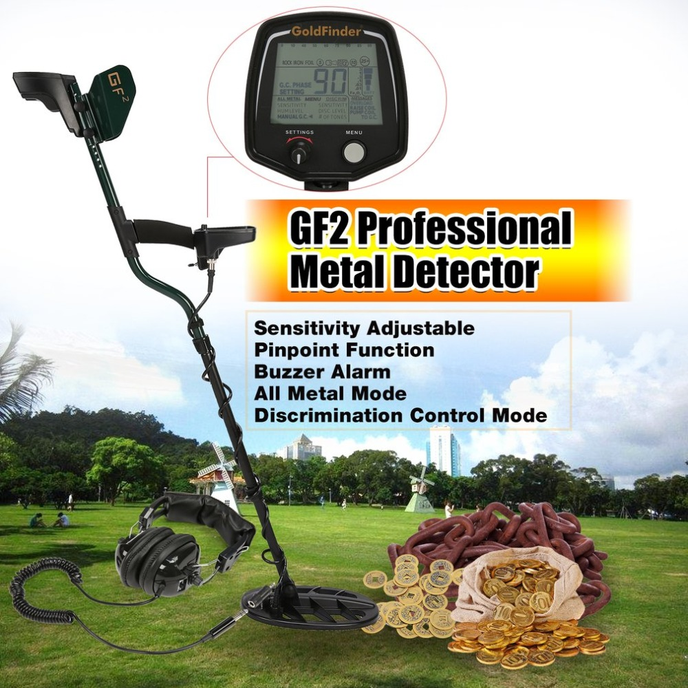 цена GF2 Professional Underground Metal Detector Handheld Treasure Hunter Gold Digger Finder With Headphone LCD Display