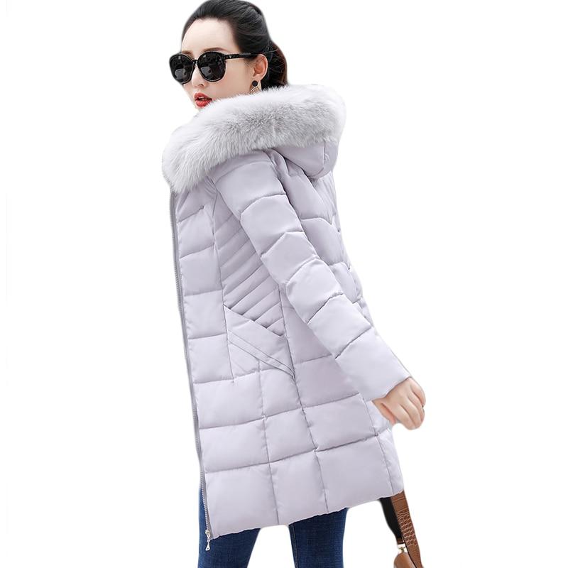 Long Warm Thicken 2019 Women Winter Jacket Plus Size 3XL Casacos De Inverno Feminino Fur Collar Hooded Female Coat   Parkas   D039