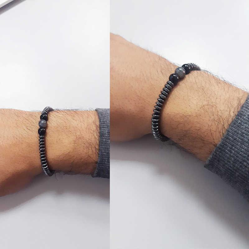 Walentynki prezent 1 PC kobiety regulowany urok hematyt koraliki bransoletka joga czarny nad morzem elastyczne minimalistyczny kamień naturalny 12 kolorów