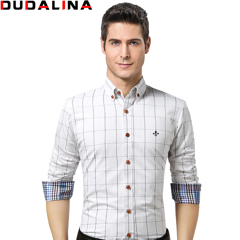 Dudalina male shirt brand clothing mens long sleeve shirt for Mens dress shirt sleeve length