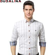Dudalina Männliches Hemd Marke Kleidung Herren Langarm-shirt 2017 sommer Plaid Slim Fit Shirt Plus Größe Freizeithemd Männer kleidung