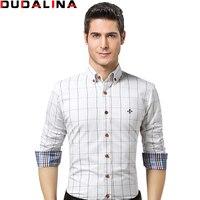Dudalina Male Shirt Brand Clothing Mens Long Sleeve Shirt 2017 Summer Plaid Slim Fit Shirt Plus