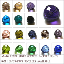 StreBelle Facet Pear Beads 8MM 100PCS/LOT Jewelry Loose Beads Austria AAA Christimas Beads