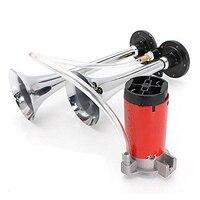 EDFY 12V 125DB Car Air Pump Horn Pneumatic Air Alarm Horn Compressor Red