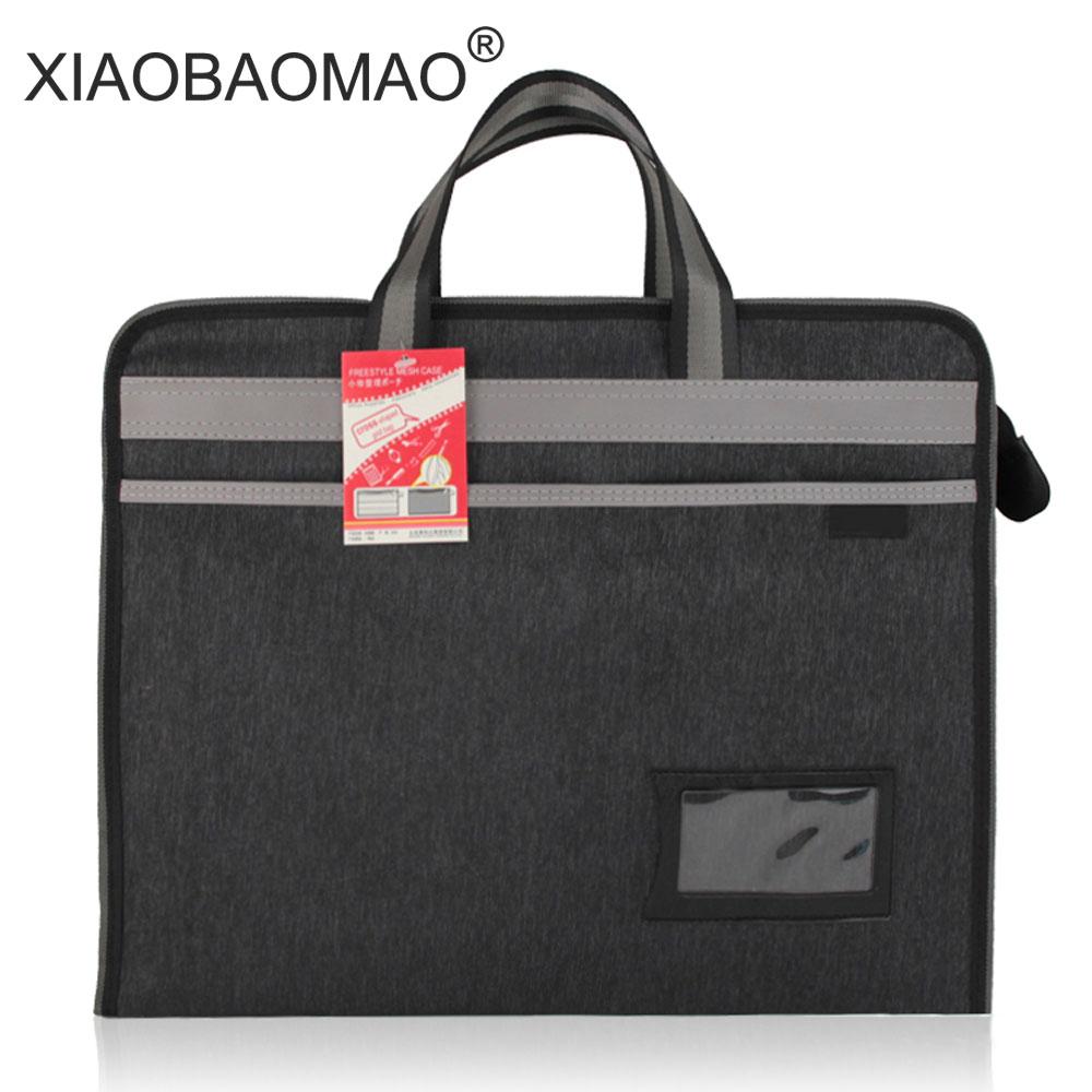 A4 Thick Portable Zipper Bag Oxford Paper Bag For Men's Office File Bag Large Capacity Zip Document Bag