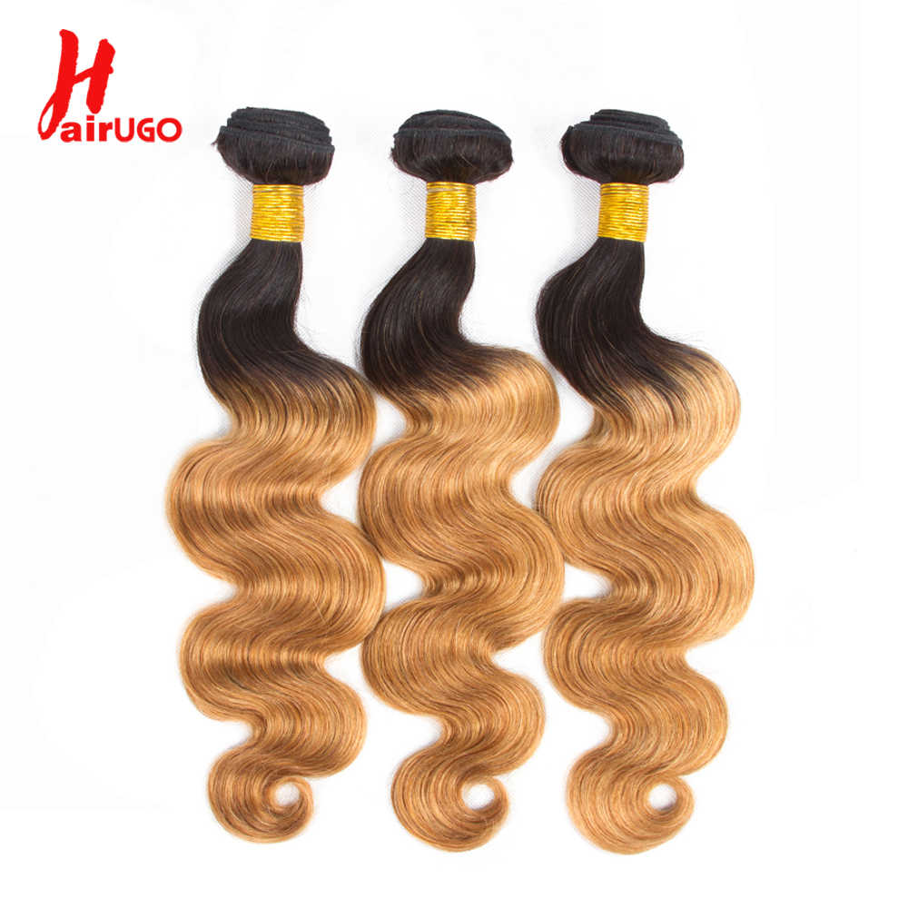 HairUGo Brazilian Body Wave Hair Weave Bundles Honey Blonde 99J Burgundy Ombre Human Hair Bundles Can Buy With Closure Remy Hair