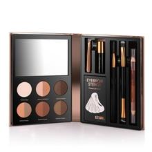 hot deal buy eyebrow powder palette waterproof shade eye brow enhancer cosmetic eyebrow hightlighter makeup brush mirror box makeup tools set