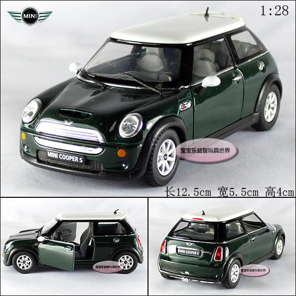 Toy Car Mini Cooper S Dark Green Alloy Models