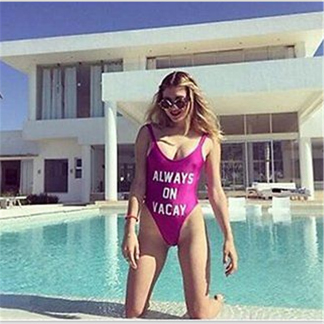 2017 Hot Womens ALWAYS ON VACAY Monokini One Piece Bodysuit Bikini Swimsuit Bathing Suit Beachwear