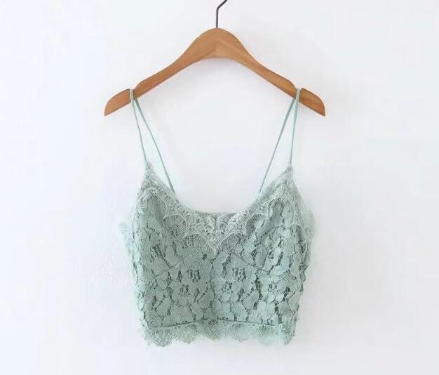 Toppies Women 2020 Mint Green Solid Color Lace Crop Tops V neck Sexy Strap Bra Camis