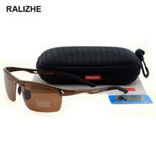 RALIZHE Brand New Fashion Men Polarized Sunglasses Polaroid Male Sun Glasses Designer UV400  Semi-Rimless Rectangle High Quality