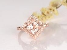 MYRAY Pink Morganite Engagement Ring,14K Gold,8mm Princess Cut Stone,Diamond Band,Bridal Wedding Ring,Gemstone Ring
