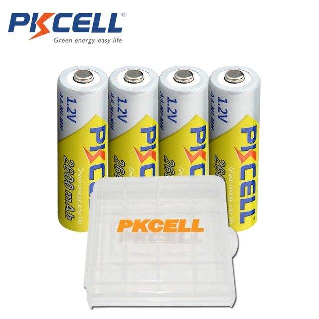 4 قطعة بطاريات PKCELL AA 1.2 فولت 2300 مللي أمبير 2600 مللي أمبير AA ni mh بطاريات بطارية قابلة للشحن aa batteria و 1 قطعة بطارية عقد