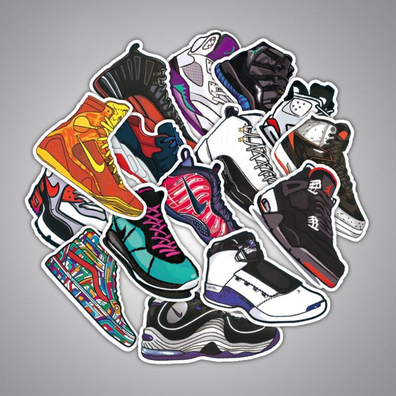 100 Pcs Basketball Sneakers Air Jordan Vinyl Computer Aufkleber Dekoration Gemischt Aufkleber Spielzeug Aufkleber Für Laptop Moto Auto Koffer Gut Verkaufen Auf Der Ganzen Welt