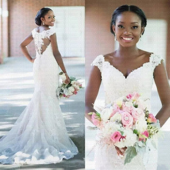 2019 New African Sexy V-neck Backless Mermaid Wedding Dress Cap Sleeves Bridal Gowns