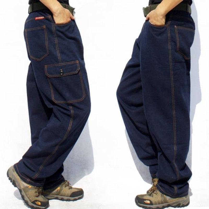 Fashion Multi-pocket Men's Cargo Jeans Loose Casual Trousers Men Straight Baggy Denim Trouser Male Bottoms Wear Overalls