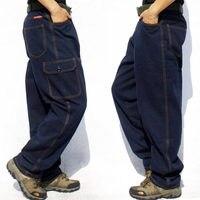 Fashion Multi pocket Men's Cargo Jeans Loose Casual Trousers Men Straight Baggy Denim Trouser Male Bottoms Wear Overalls