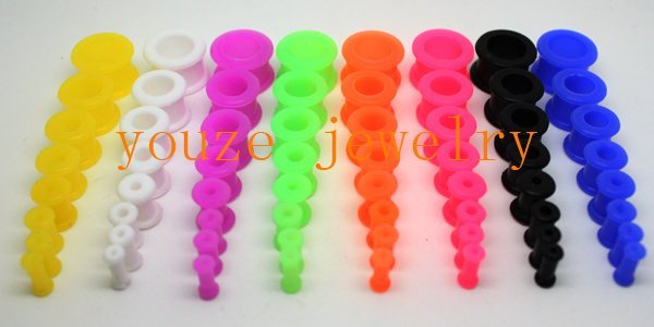 Mixed 7 Sizes*Mixed 8 Colors Flexible Environmental Silicone Ear Expander Plug Piercing Flesh  Tunnels