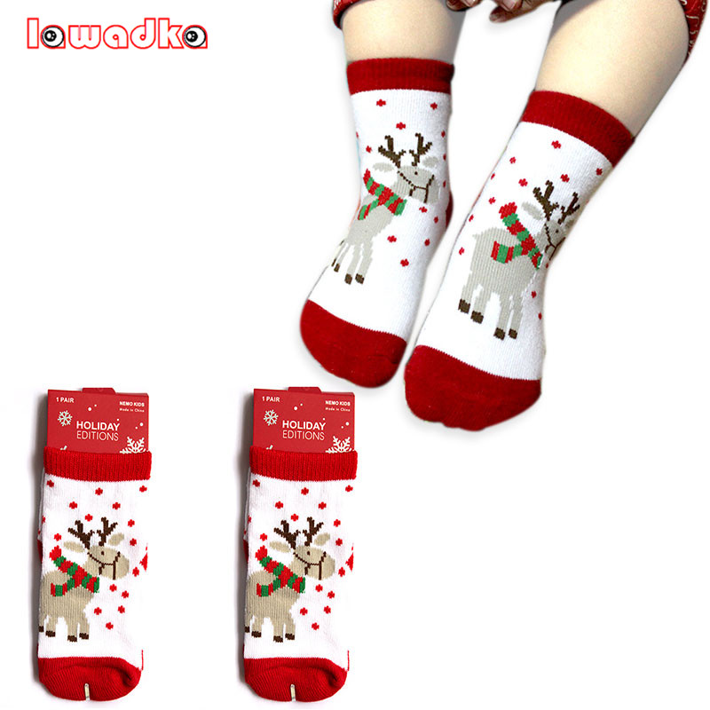 0-5T Cotton Cute Christmas Design Baby Socks Slip-resistant Cartoon New Born Children's Christmas Socks 6Style