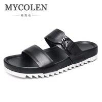 MYCOLEN Лидер продаж мужские тапочки летние пляжные босоножки модные шлепанцы кожаные босоножки индивидуальность бренда мужская обувь Badeschuhe