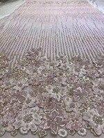 Красивый французский чистая кружевной ткани с тяжелыми бисером и камнями, вышитые кружевной отделкой Африки тюль кружевной ткани высокого