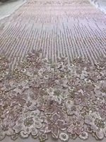 Beautiful french net lace fabric with heavy beads and stones , embroidered lace trim african tulle lace fabric high quality