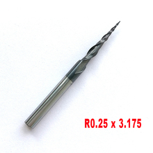"""1pc R0.25 R1.0 x3.175 (1/8"""") shank 2 flutes Tungsten solid carbide Coated Tapered Ball Nose End Mills taper and cone endmills"""