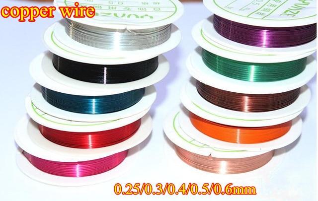 10 farben/lot Kupfer handwerk Draht Kabel 0,25/0,3/0,4/0,5/0,6mm ...