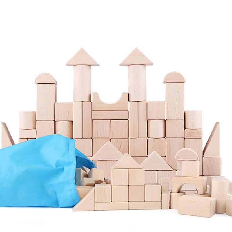 100 pièces bricolage bois construction blocs de bois jouets enfants éducatifs apprentissage famille jeux jouet grognons lumières jouets pour enfants - 3