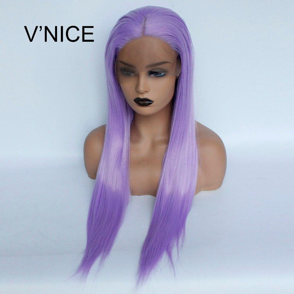 V'NICE прямые Фиолетовый Синтетические волосы на кружеве парик синтетического жаропрочных лаванды Цвет парик для Для женщин средняя часть фи...