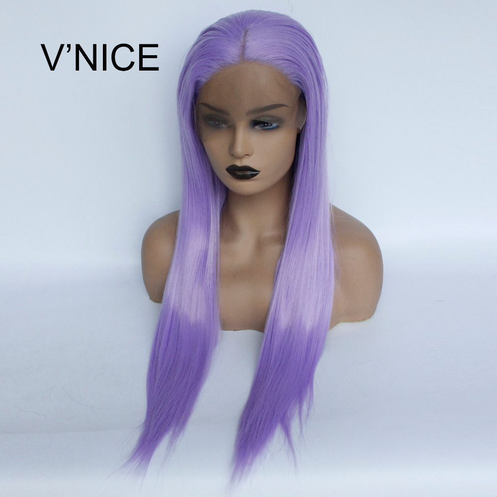 V'NICE Straight Purple Lace Front Wig Synthetic Heat Resistant Lavender Color Wig For Women Middle Part Violet Glueless Hair Wi